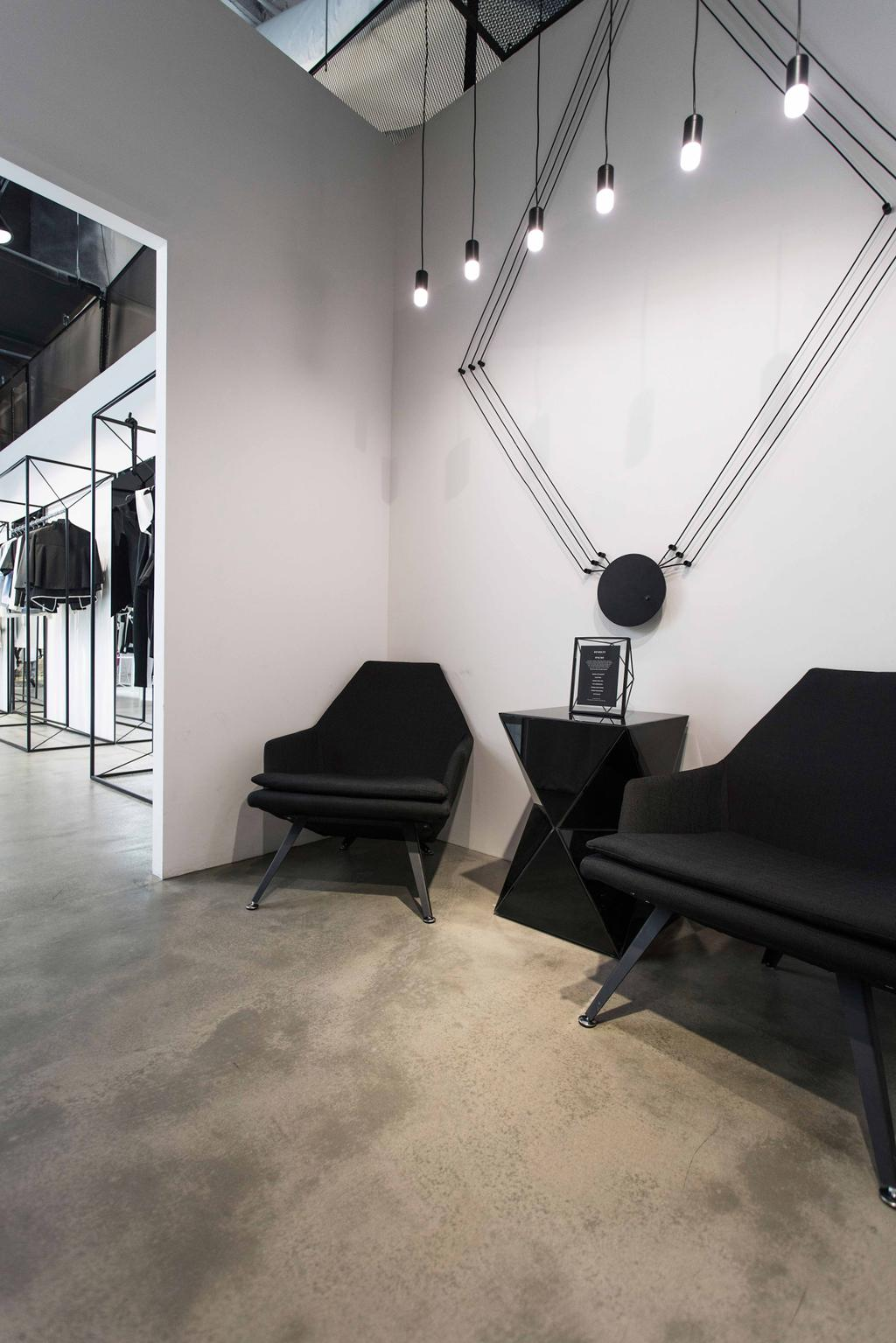 Revolte Flagship Store, Commercial, Architect, asolidplan, Minimalistic, Waiting Area, Shop Waiting Area, Downlights, Cement Screeding Wall, Cement Screeding Floor, Black Downlights, Wall Art, Black Chairs, Door, Revolving Door, Chair, Furniture, Couch