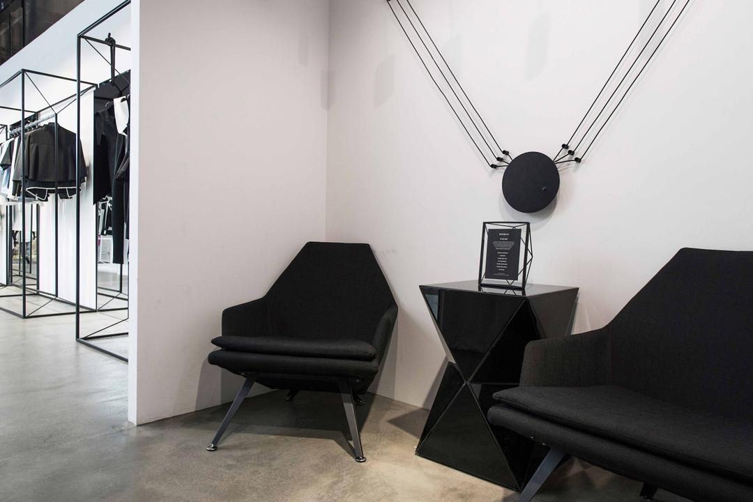 Revolte Flagship Store, asolidplan, Minimalistic, Commercial, Waiting Area, Shop Waiting Area, Downlights, Cement Screeding Wall, Cement Screeding Floor, Black Downlights, Wall Art, Black Chairs, Door, Revolving Door, Chair, Furniture, Couch