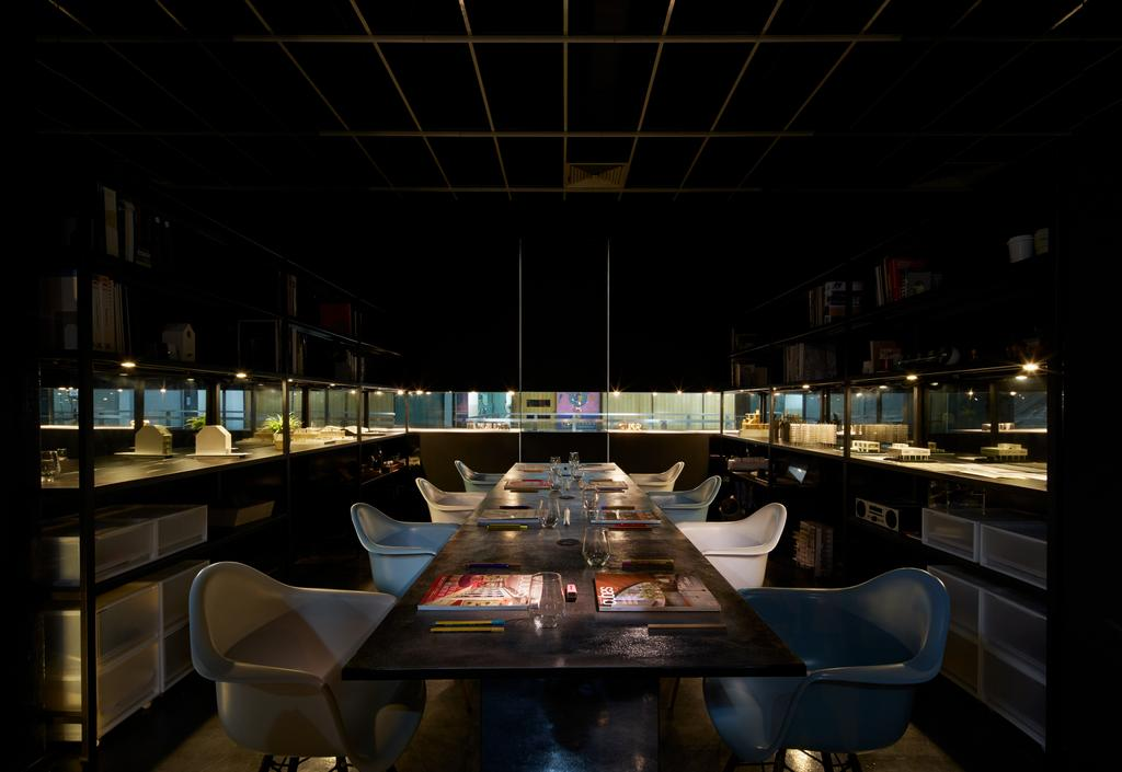 Solid with Asolidplan, Commercial, Architect, asolidplan, Contemporary, Showroom External Lightings, Restaurant, Dining Table, Furniture, Table, Chair