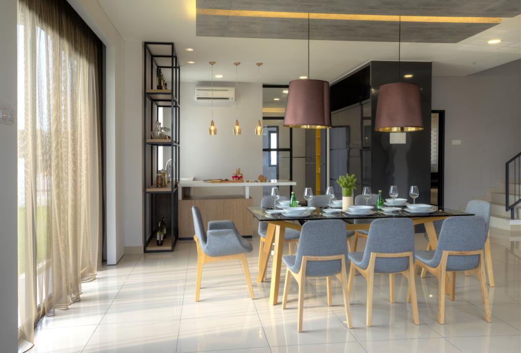 Minimalistic, Landed, Dining Room, Aman Putri, Interior Designer, Think Studio, Dining Table, Furniture, Table, Indoors, Interior Design, Room, Chair, Lamp, Lampshade