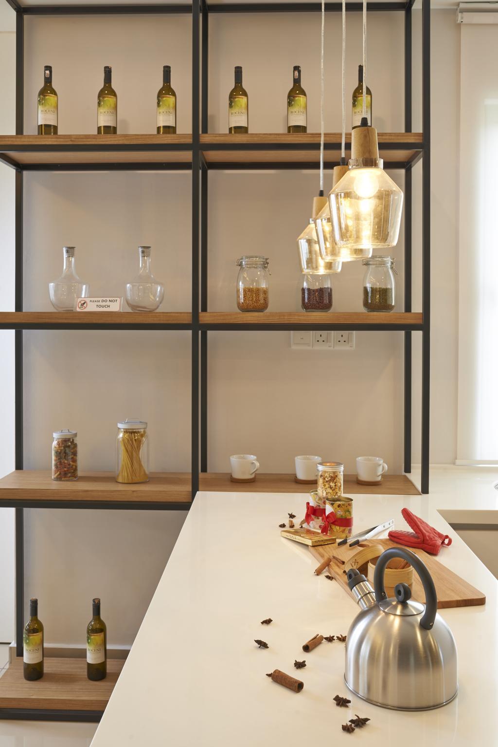 Minimalistic, Landed, Kitchen, Aman Putri, Interior Designer, Think Studio, Shelf