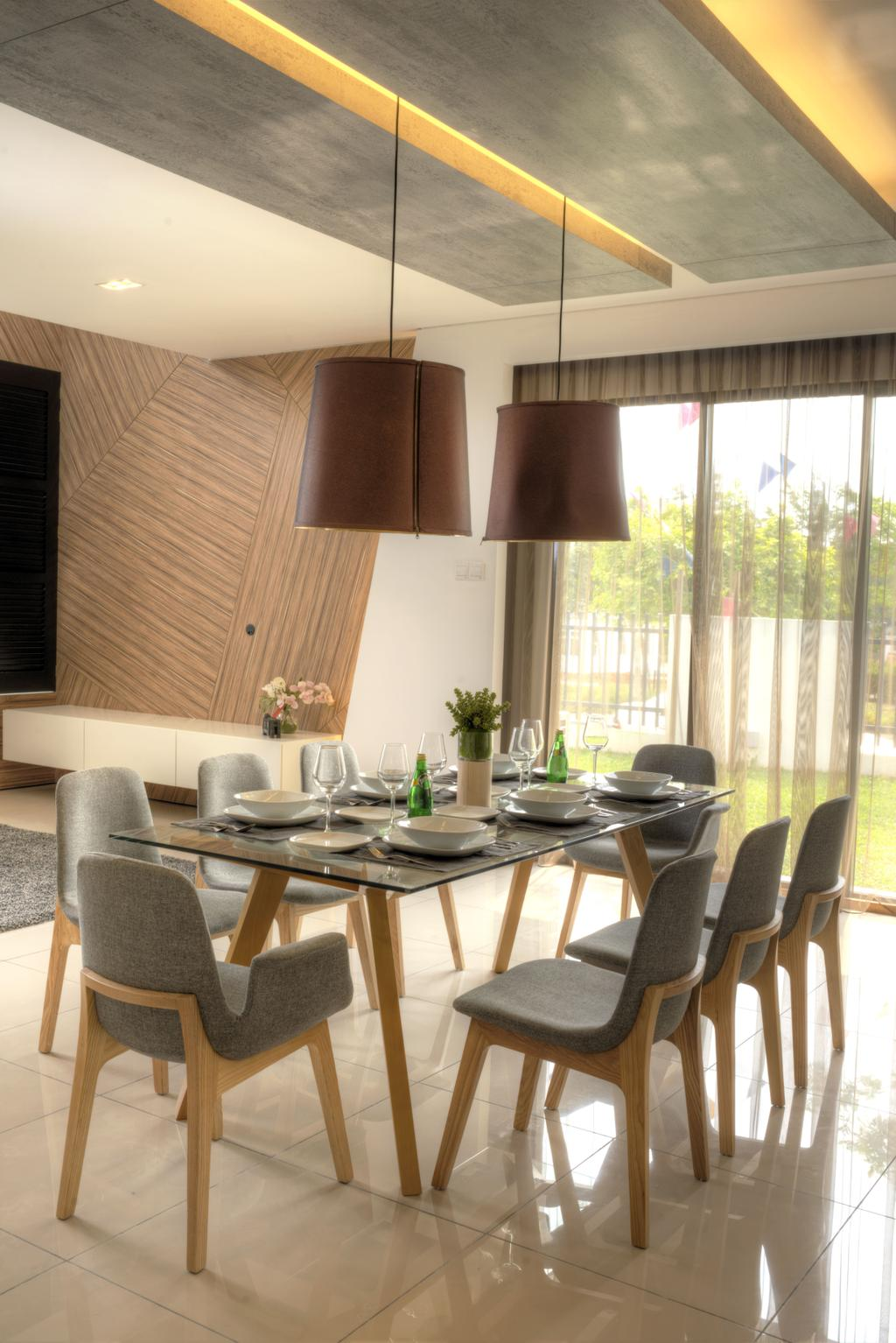 Minimalistic, Landed, Dining Room, Aman Putri, Interior Designer, Think Studio, Dining Table, Furniture, Table, Indoors, Interior Design, Room, Chair, Cup