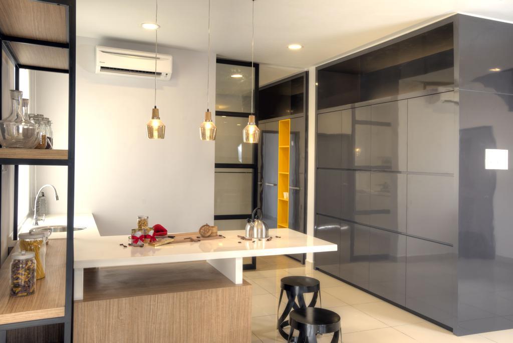 Minimalistic, Landed, Kitchen, Aman Putri, Interior Designer, Think Studio, Indoors, Interior Design, Bar Stool, Furniture, Dining Room, Room, Dining Table, Table