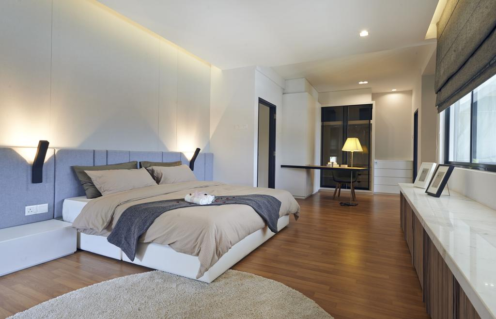 Minimalistic, Landed, Bedroom, Aman Putri, Interior Designer, Think Studio, Bed, Furniture, Indoors, Room, Flooring