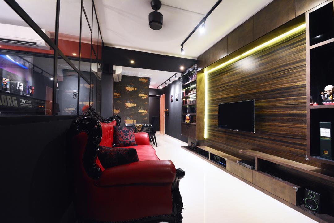 Bedok, NID Design Group, Modern, Living Room, HDB, , Dark Furniture, Dark Colours, Feature Wall, Woodgrain, Tv Console, Tv Cabinet, Concealed Lighting, Ceiling Fan, Brown, Shelves, Shelving