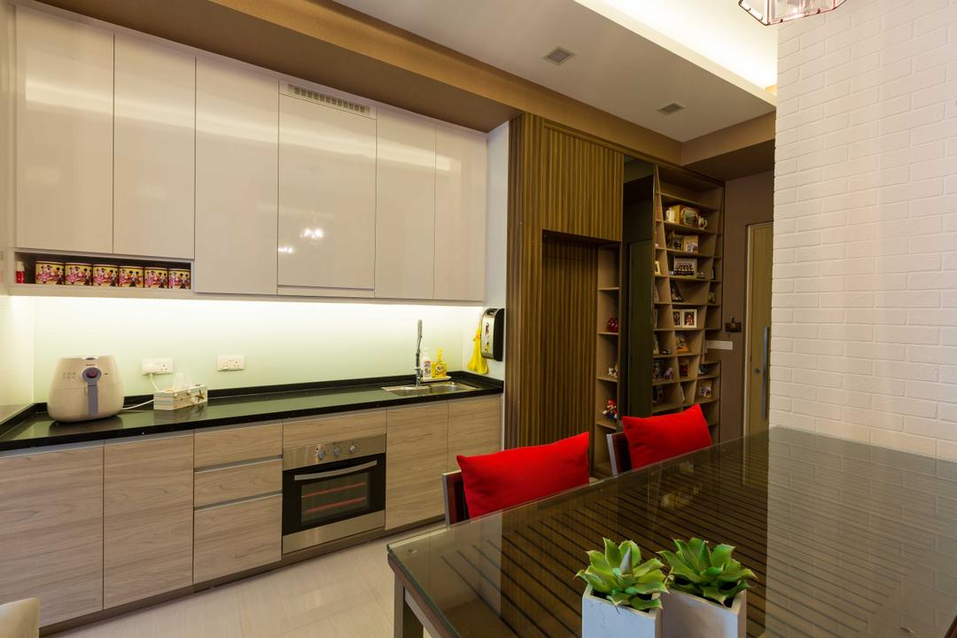 Boathouse Residence, NID Design Group, Eclectic, Kitchen, Condo, Kitchen Cabinet, Built In Oven, Black Countertop, Shoe Cabinet, Display Cabinet, Shelves, Shelving, Wood, Brown Furniture