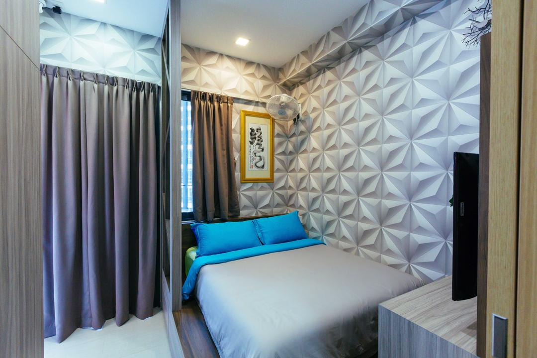 Boathouse Residence, NID Design Group, Eclectic, Bedroom, Condo, Wallpaper, Textured Wall, Blue, Silver, Blue Room, Curtains, Grey Curtains, Painting, Blue And Grey