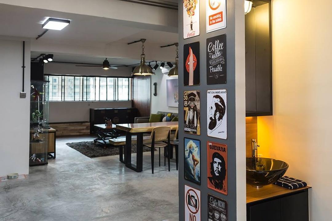 Dover Crescent, NID Design Group, Industrial, Bathroom, HDB, Wall Art, Wall Decor, Home Decor, Pop Art, Poster, Bathroom Vanity, Mirror, Under Cabinet Lighting, Bowl Sink, Vessel Sink