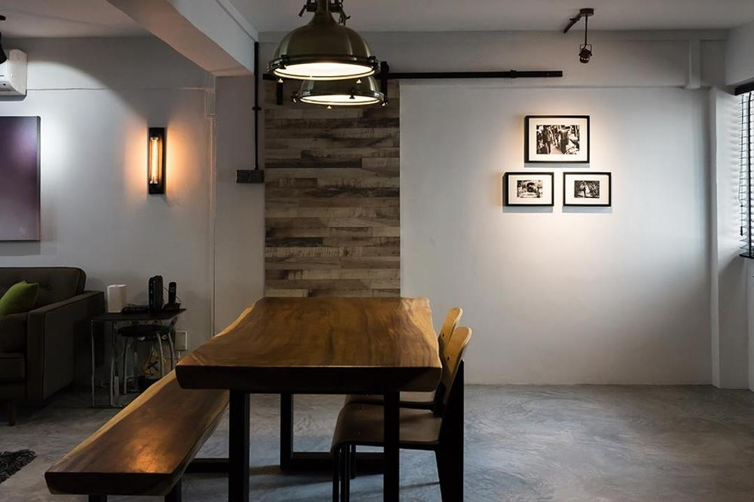Dover Crescent, NID Design Group, Industrial, Dining Room, HDB, Dining Table, Dining Chair, Bench, Dim, Photo Frame, Wall Frame, Wall Art, Wall Decor