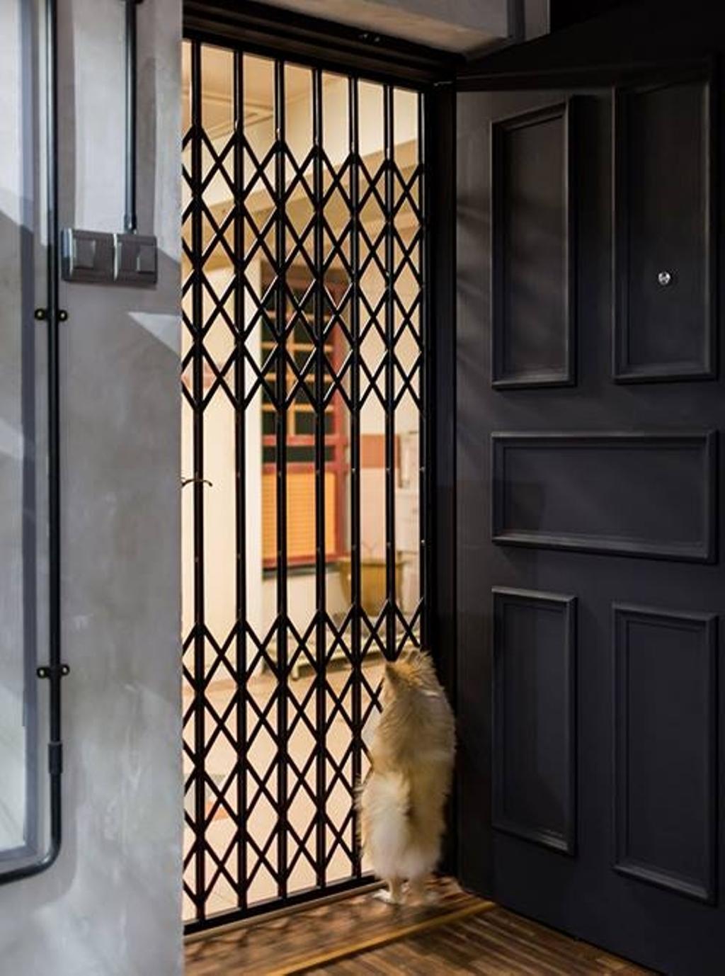 Industrial, HDB, Living Room, Dover Crescent, Interior Designer, NID Design Group, Door, Entrance, Door Grille, Black Door