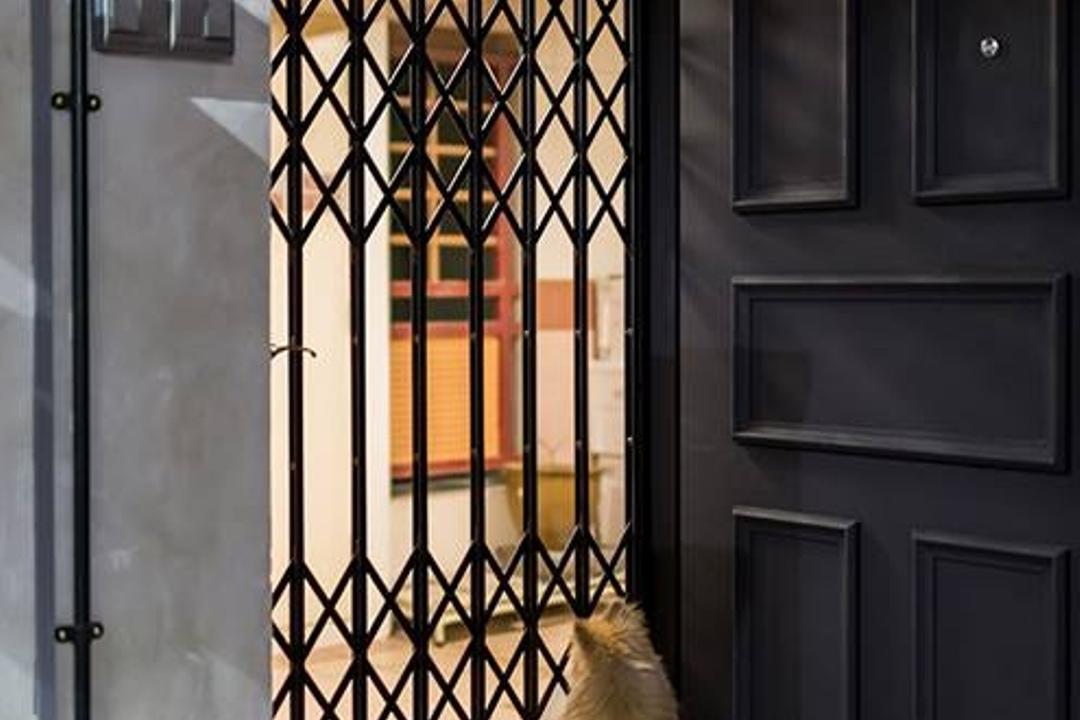 Dover Crescent, NID Design Group, Industrial, Living Room, HDB, Door, Entrance, Door Grille, Black Door