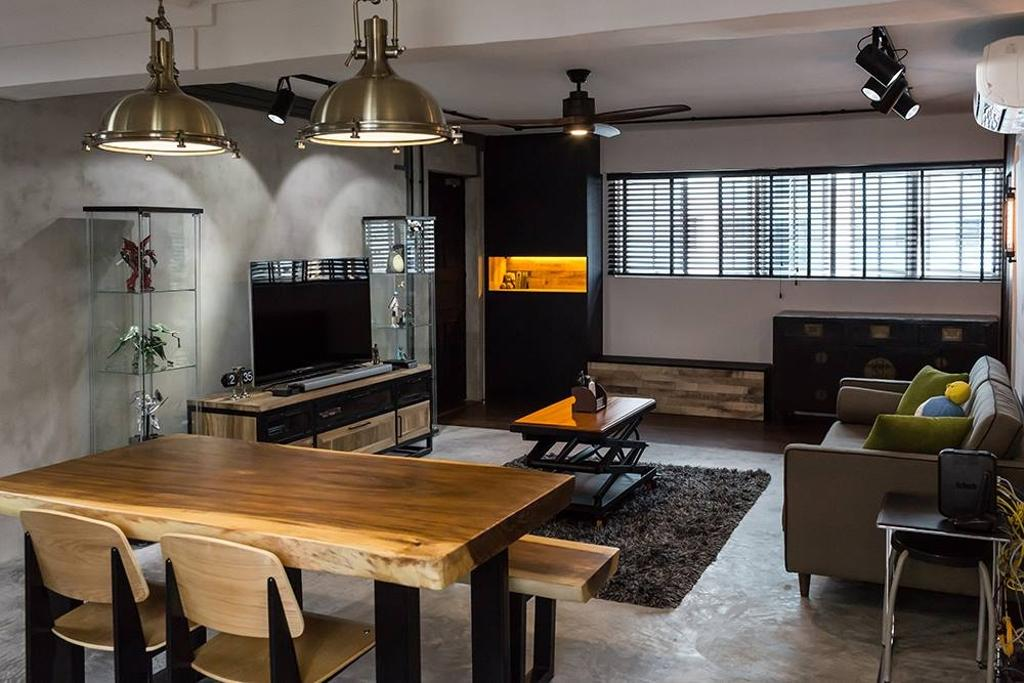 Industrial, HDB, Living Room, Dover Crescent, Interior Designer, NID Design Group, Blinds, Venetian Blinds, Side Cabinet, Grey Wall, Cement Screed, Dining Table, Dining Chair, Chairs, Pendant Lamp, Hanging Lamp, Industrial Style Lamp