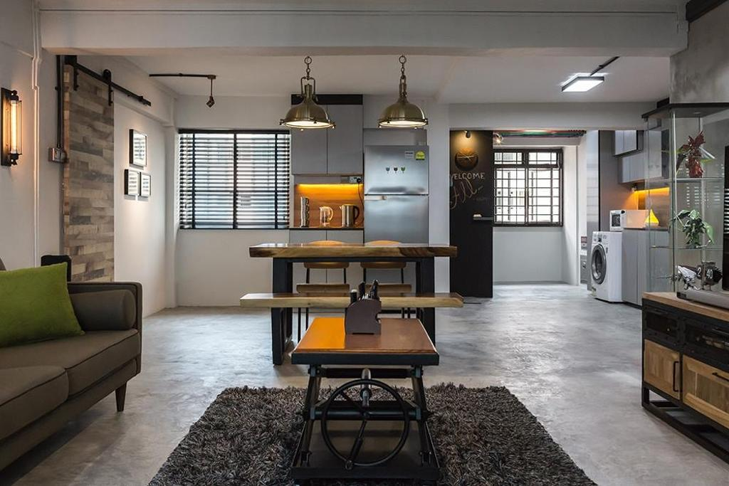 Industrial, HDB, Living Room, Dover Crescent, Interior Designer, NID Design Group, Concrete, Concrete Flooring, Carpet, Grey, Gray