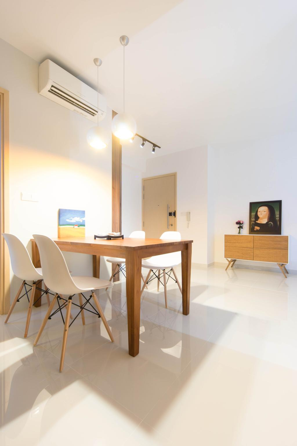 Scandinavian, Condo, Dining Room, Esparina Residences, Interior Designer, Unity ID, Dining Table, Chair, Hanging Light, Lighting, Woodwork, Wood Laminate, Wood, Laminate, Painting, Mantlepiece, Cabinet, White