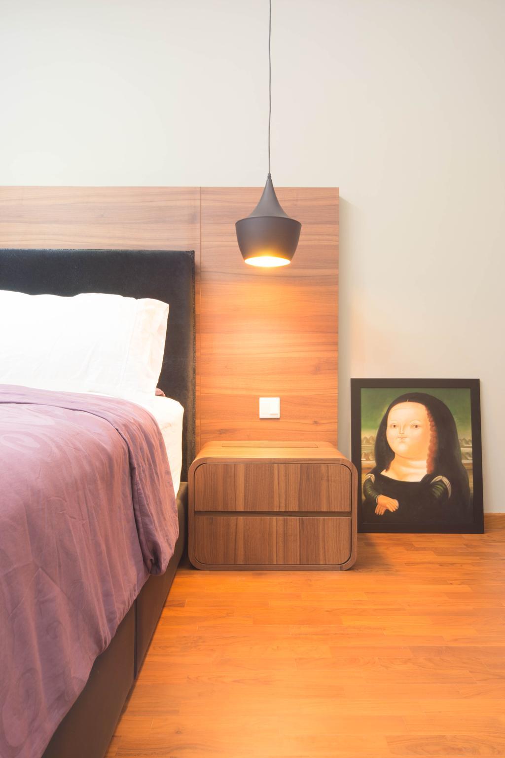 Scandinavian, Condo, Bedroom, Esparina Residences, Interior Designer, Unity ID, Painting, Wood Laminate, Wood, Laminate, Hanging Light, Lighting, Parquet, White