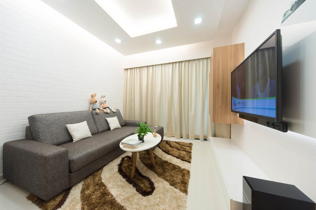 Esparina Residences, Unity ID, Scandinavian, Living Room, Condo, Rug, Coffee Table, Table, Sofa, Curtains, Tv Console, White Brick Wall, Brick Wall, Whitewashed Brick, Concealed Lighting, False Ceiling