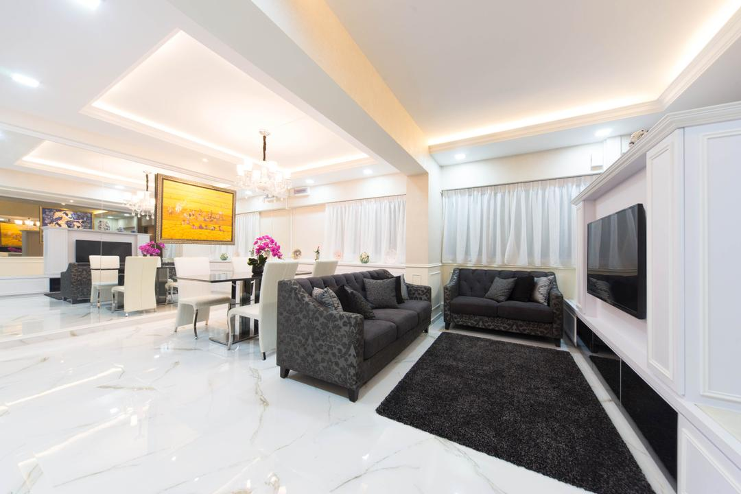 Pasir Ris Drive 1, Unity ID, Eclectic, Living Room, HDB, Luxurious, Marble Flooring, White, Sofa, Loveseat, Victorian, Black, Rug, Tv Console, Wall Panels, Concealed Lighting, False Ceiling, Mirror, Full Length Mirror, Painting, Hanging Light, Pendant Light, Columns
