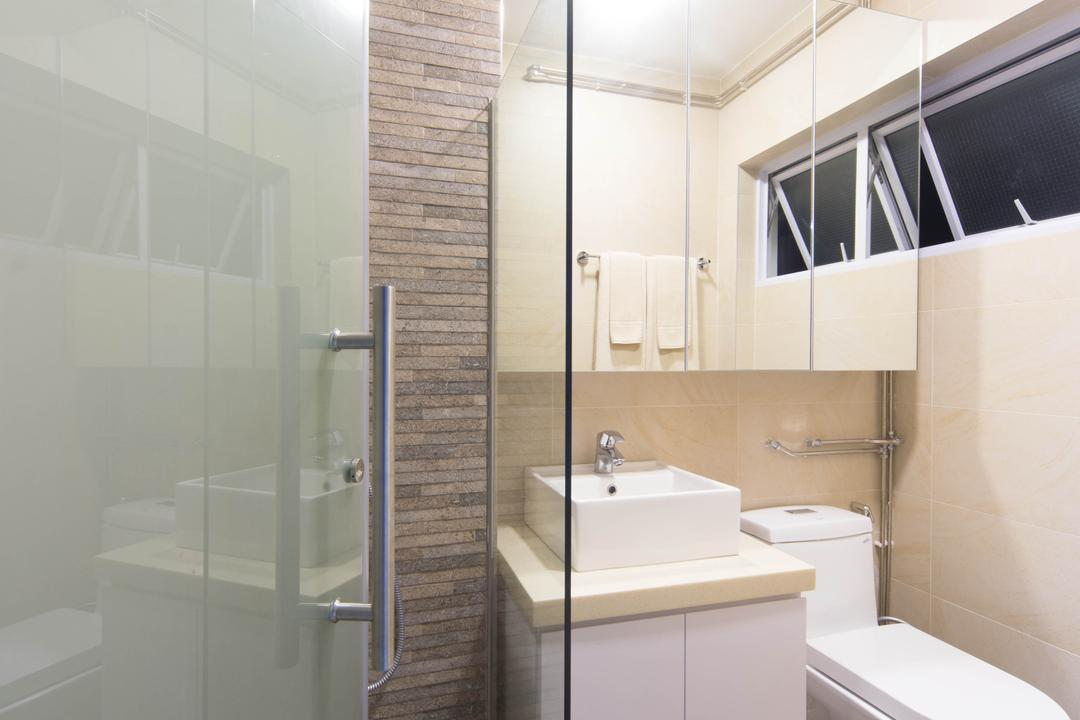 Pasir Ris Drive 1, Unity ID, Eclectic, Bathroom, HDB, Frosted Doors, Mirror, Bathroom Counter, Vessel Sink, Frosted Glass, Tile, Tiles, Stone Wall, Raw