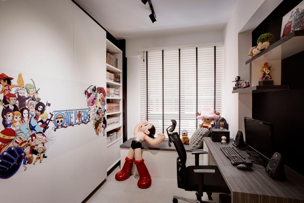 Industrial, Condo, Study, The Rainforest, Interior Designer, Space Factor, Kids, Kids Room, Toys, Collectibles, Quirky, Collection, Figurines, Wall Decal, Blinds, Venetian Blinds, Bay Window, Study Table, Work Station, Work Desk, Wall Shelves, Shelves, Storage, Storage Space, Bookshelf, Books