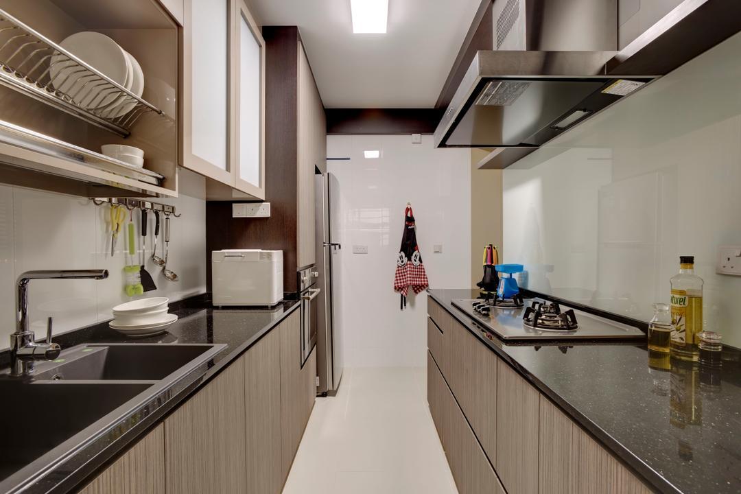 Punggol Walk, Space Factor, Minimalistic, Kitchen, HDB, Dish Rack, Kitchen Rack, Kitchen Countertop, Utensils Rack, Kitchen Cabinet, Cabinetry, Exhaust Hood, Black Countertop, Kitchen Sink, Sink, Brown Cabinet, Banister, Handrail