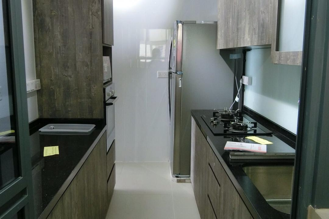 Punggol Walk, Ace Space Design, Industrial, Kitchen, HDB, Kitchen Cabinet, Cabinetry, Dark Cabinet, Raw, Rustic, Black Countertop, Wood, Dark Wood, Track Lighting