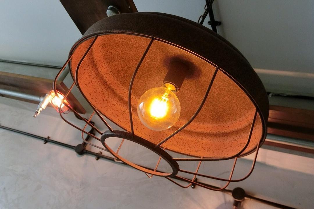 Punggol Walk, Ace Space Design, Industrial, HDB, Caged Lamp, Light Bulb, Light Bulb Pendant Lamp, Pendant Lamp, Hanging Lamp, Light Fixture