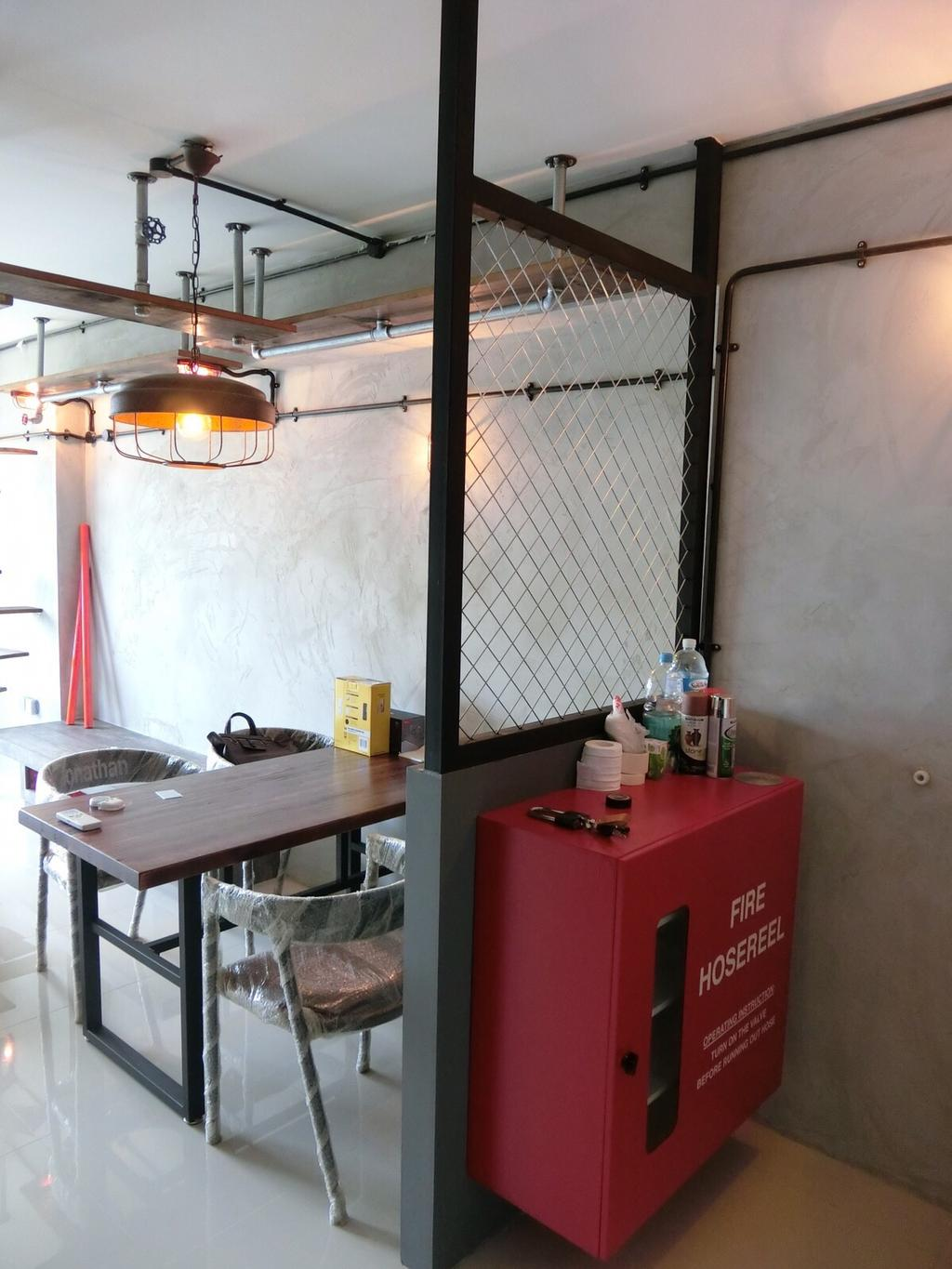 Industrial, HDB, Living Room, Punggol Walk, Interior Designer, Ace Space Design, Wire Mesh, Partition, Cabinet, Red Cabinet, Dining Table, , Chairs, Dining Chairs, Industrial Style Chair, Industrial Style Furniture, Bottle, Building, Housing, Indoors, Loft, Chair, Furniture