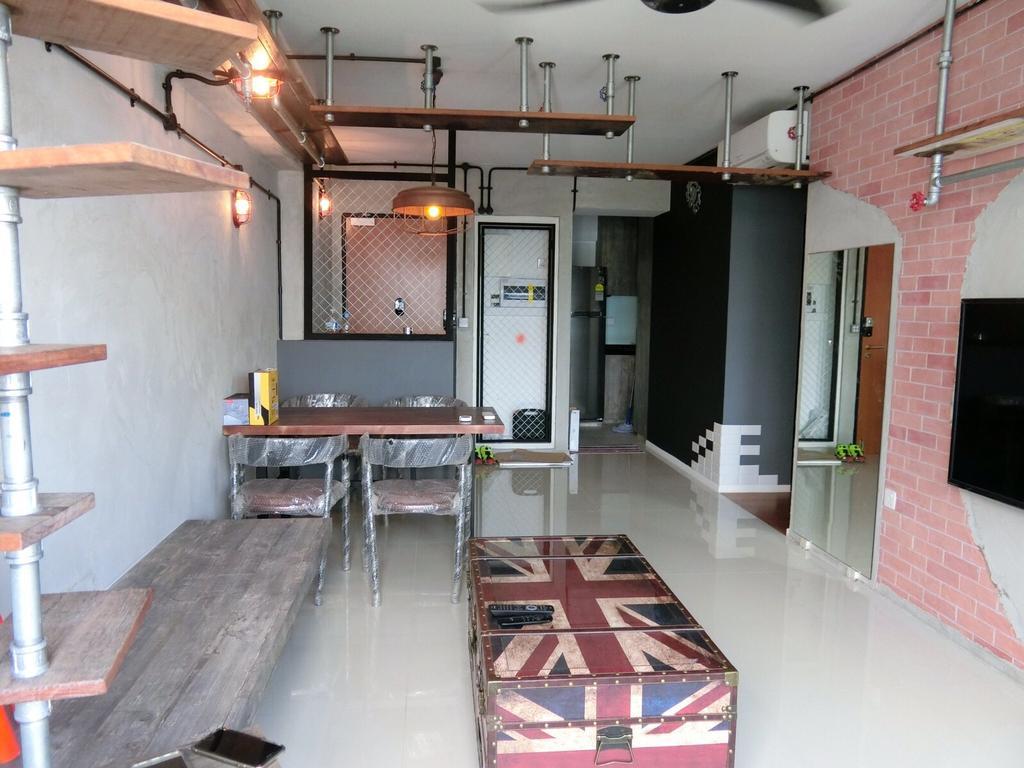 Industrial, HDB, Living Room, Punggol Walk, Interior Designer, Ace Space Design, Brick Walls, Red Brick Wall, Shelves, Shelving, Building, Housing, Indoors, Loft