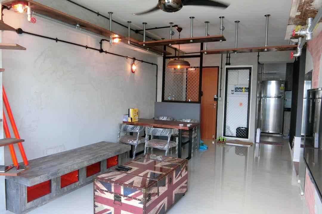 Punggol Walk, Ace Space Design, Industrial, Living Room, HDB, Chest Box, Chest Box Storage, Union Jack, Bench, Hanging Shelves, Floating Shelves, Suspended Shelves, Raw, Ceiling Fan, Door, Entrance, Building, Housing, Indoors, Loft