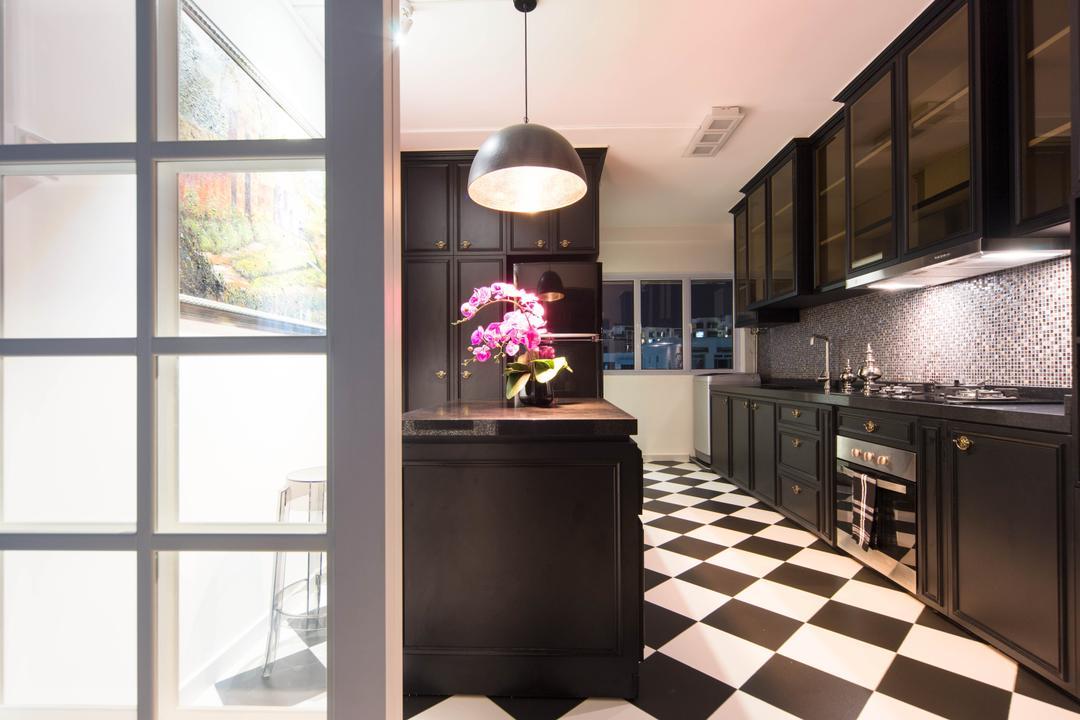 Pasir Ris Drive 1, Unity ID, Eclectic, Kitchen, HDB, Tile, Tiles, Black, White, Cabinet, Kitchen Counter, Lighting, Hanging Light, Glass Wall, Mosaic Tiles, Mosaic, Shiny, Shelf, Shelves