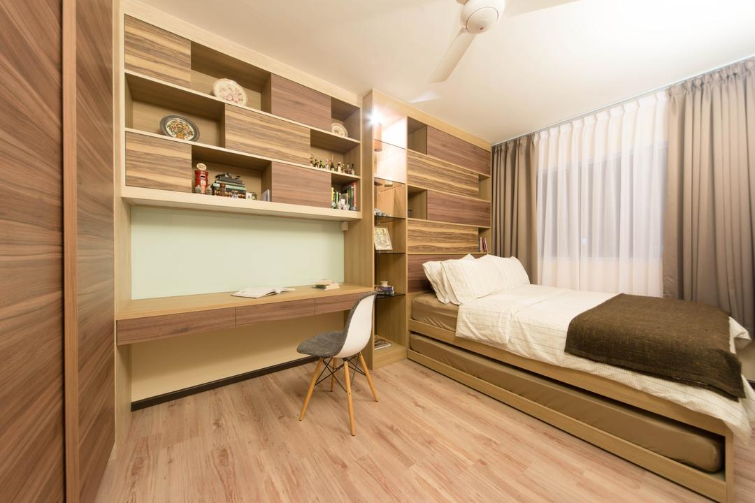 Pasir Ris Drive 1, Unity ID, Eclectic, Bedroom, HDB, Rustic, Parquet, Wood Laminate, Wood, Laminate, Mounted Table, Table, Chair, Shelf, Shelves, Display Shelf, Platform, Curtains