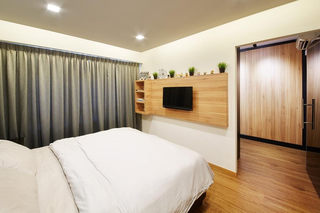 Minimalistic, HDB, Bedroom, Boon Tiong Road (Block 10A), Interior Designer, The Local INN.terior 新家室, Scandinavian, King Size Bed, Wall Mounted Television, Wooden Floor, Wooden Television Panel, Wall Mounted Wooden Shelves, Cozy, Recessed Lighting, Recessed Lights, Air Condition, Sling Curtain, Wooden Bedroom Door, Indoors, Interior Design, Room, Bed, Furniture