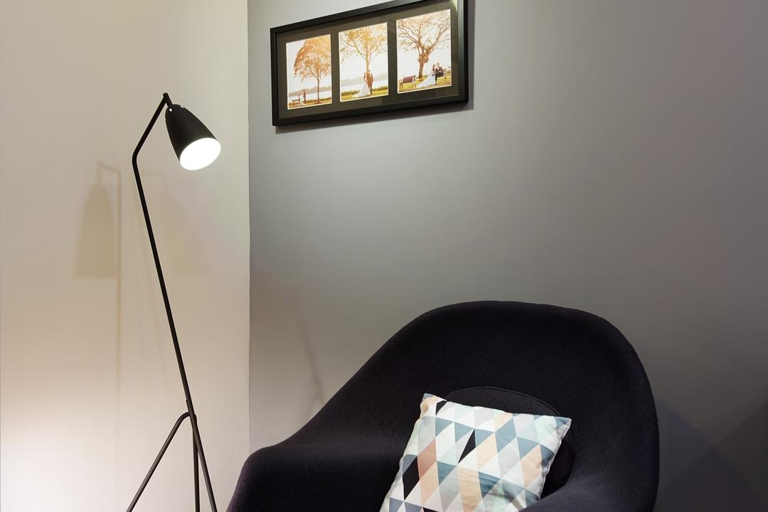 Boon Tiong Road (Block 10A), The Local INN.terior 新家室, Minimalistic, Scandinavian, Bedroom, HDB, Wooden Floor, Ceiling Mounted Lights, Picture Frames, Photo Frames, Standing Lamp, Ceriling Mounted Lights, White Wall, Grey Wall, Corner, Indoors, Interior Design, Room