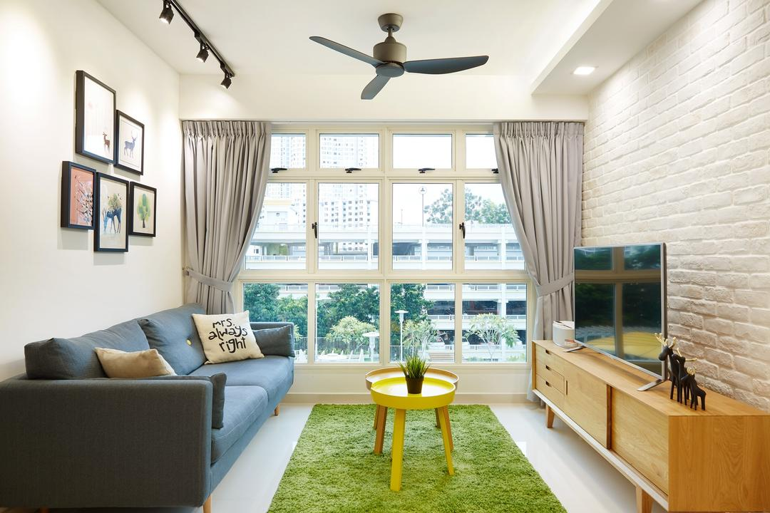 Boon Tiong Road (Block 10A), The Local INN.terior 新家室, Minimalistic, Scandinavian, Living Room, HDB, Haiku Fan, Sling Curtain, Window Panel, Sofa, Picture Frames, Track Lights, Craftstone Wall, Wooden Television Cabinet, Artificial Grass Carpet, Bright, Relax, Couch, Furniture, Indoors, Room