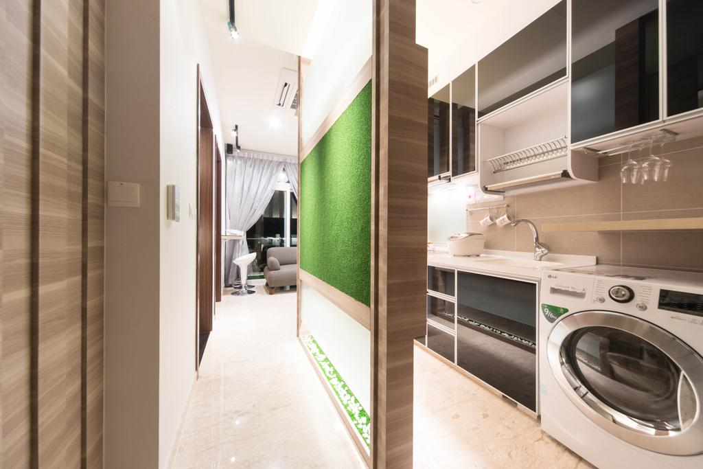 Modern, Condo, Kitchen, Cardiff Groove, Interior Designer, Unity ID, Laundry Room, Dish Rack, Cabinet, Shelf, Hanging Wine Glass Rack, Feature Wall, Wood Laminate, Wood, Laminate, Artificial Lawn, Marble Flooring, Classic, Neutral