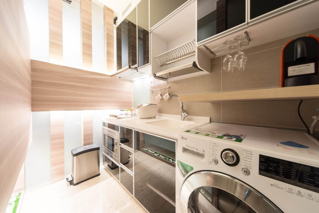 Modern, Condo, Kitchen, Cardiff Groove, Interior Designer, Unity ID, Laundry Room, Wood Laminate, Wood, Laminate, Cabinet, Shelf, Dish Rack, Wall Panels, Black, Kitchen Counter, Compact