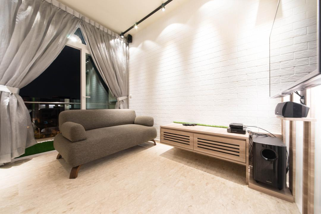 Cardiff Groove, Unity ID, Modern, Living Room, Condo, Curtains, Balcony, Marble Flooring, White Brick Wall, Whitewashed Brick, Brick Wall, Tv Console, Sofa, Chair, Track Lighting, Neutral Tones, Grey, Monochrome, Gray
