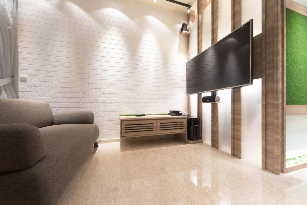 Cardiff Groove, Unity ID, Modern, Living Room, Condo, Brick Wall, White Brick Wall, Whitewashed Brick, Tv Console, Marble Flooring, Chair, Wall Panels, Wood Laminate, Wood, Laminate, Sofa