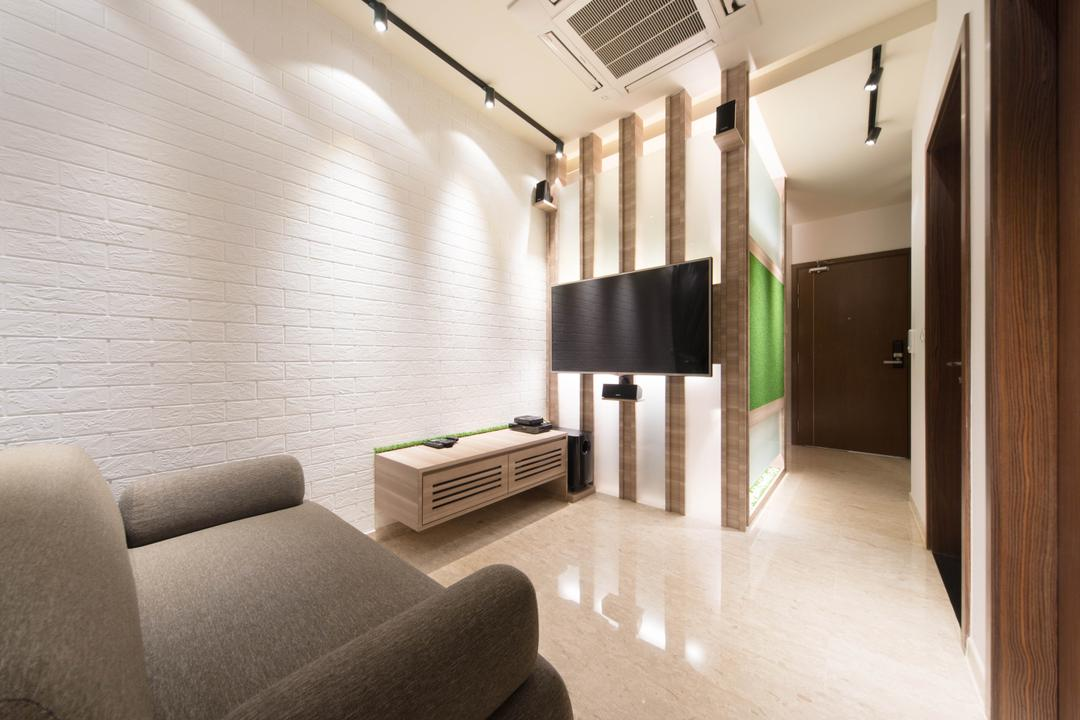 Cardiff Groove, Unity ID, Modern, Living Room, Condo, Brick Wall, White Brick Wall, Whitewashed Brick, Wall Panels, Chair, Marble Flooring, Track Lighting, Neutral Tones, Tv Console, Sofa, Gray, Grey, Monochrome
