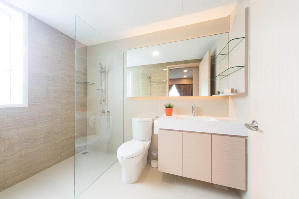 Modern, Condo, Bathroom, The Waterview, Interior Designer, Unity ID, Mirror, Shelf, Shelves, Bathroom Counter, Neutral Tones, Beige, Wood, Laminate, Wood Laminate, Parquet Wall, Glass Wall