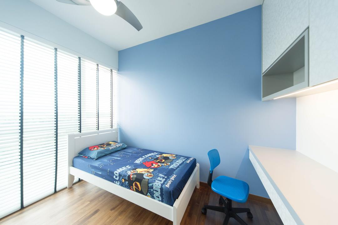 The Waterview, Unity ID, Modern, Bedroom, Condo, Full Length Mirror, Venetian Blinds, Ceiling Fan, Blue, Kids Room, Kids, Mounted Table, White, Cabinet
