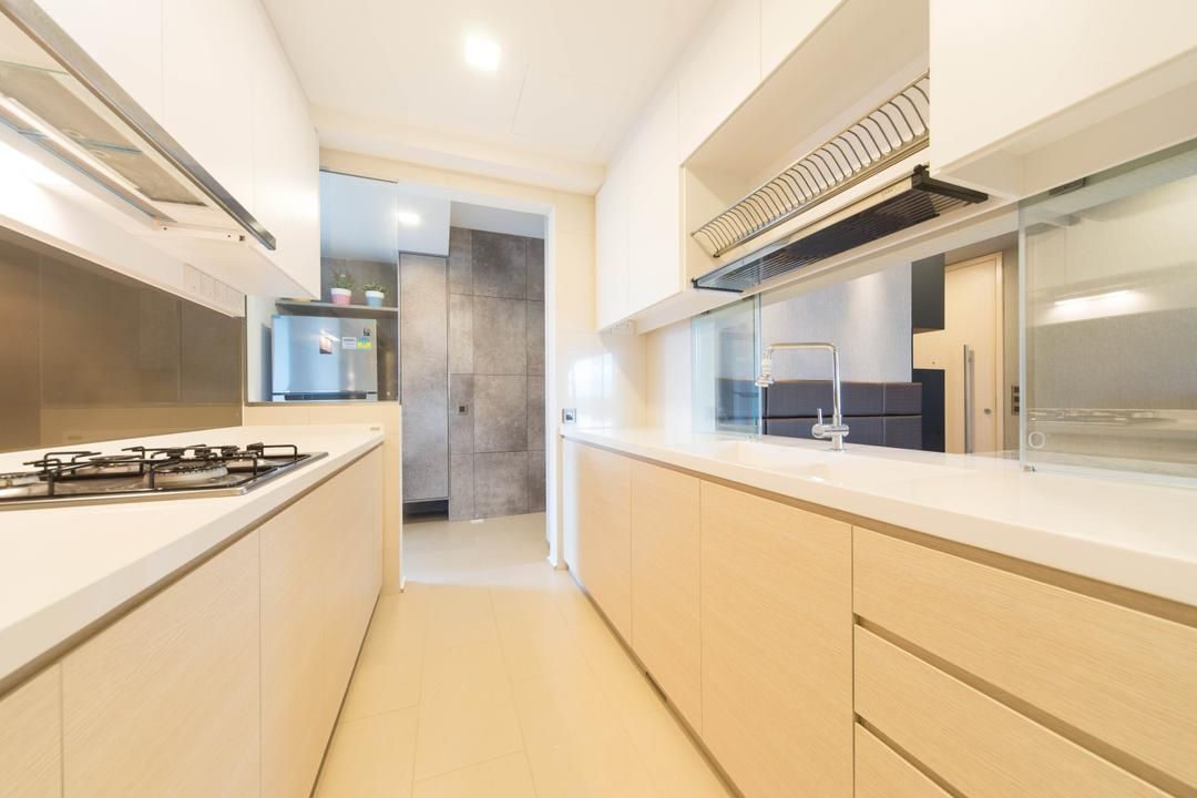 The Waterview, Unity ID, Modern, Kitchen, Condo, Linear, Wood Laminate, Wood, Laminate, Cabinet, Dish Rack, White