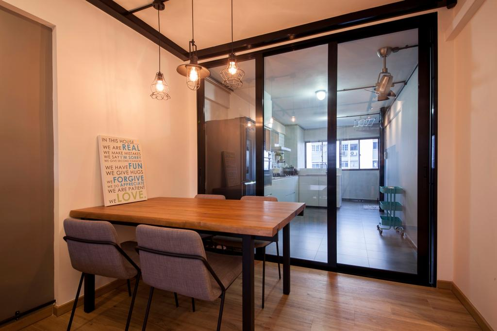 Industrial, HDB, Dining Room, Ang Mo Kio (Block 404), Interior Designer, Corazon Interior, Dining Table, Dining Chairs, Pendant Lamp, Hanging Lamp, Exposed Bulb Lamp, Kitchen Door, Sliding Door, Glass Partition, Glass Door, Black Framed Doors, Chair, Furniture, Table, Indoors, Interior Design, Room