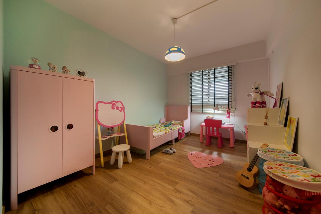 Ang Mo Kio (Block 404), Corazon Interior, Industrial, Bedroom, HDB, Children, , Kids, Kids Room, Girls Room, Pink, Pink Room, Hello Kitty, Children Furniture, Kids Room, Feminine, Girly, Flooring, Chair, Furniture, Dining Table, Table