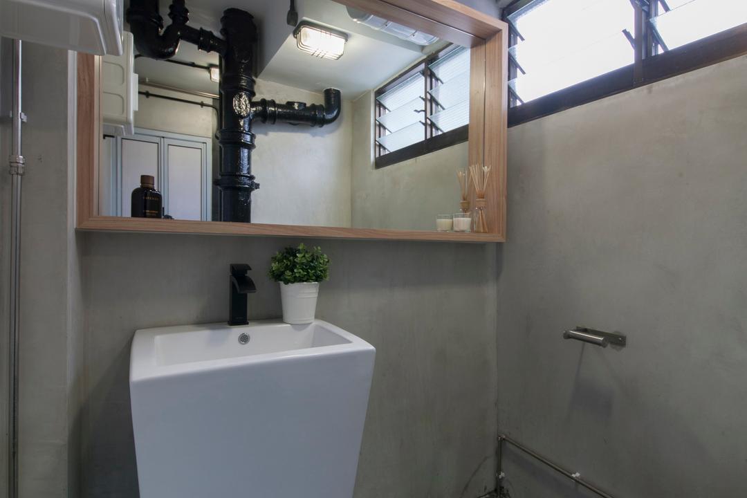 Ang Mo Kio (Block 404), Corazon Interior, Industrial, Bedroom, HDB, Pedestal Sink, Bathroom Vanity, Mirror, Grey Wall, Grey Flooring, Bathroom, Indoors, Interior Design, Room