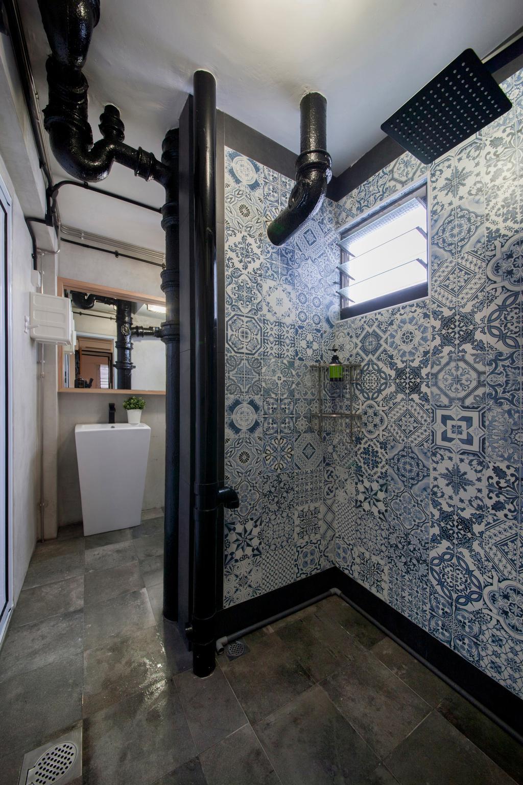 Industrial, HDB, Bathroom, Ang Mo Kio (Block 404), Interior Designer, Corazon Interior, Patterned Tiles, Bathroom Tiles, Wall Tiles, Grey Flooring