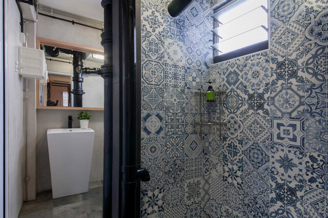 Ang Mo Kio (Block 404), Corazon Interior, Industrial, Bathroom, HDB, Patterned Tiles, Bathroom Tiles, Wall Tiles, Grey Flooring