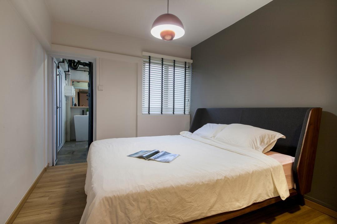 Ang Mo Kio (Block 404), Corazon Interior, Industrial, Bedroom, HDB, Bedframe, Wooden Bed Frame, Bed, Furniture, Indoors, Interior Design, Room
