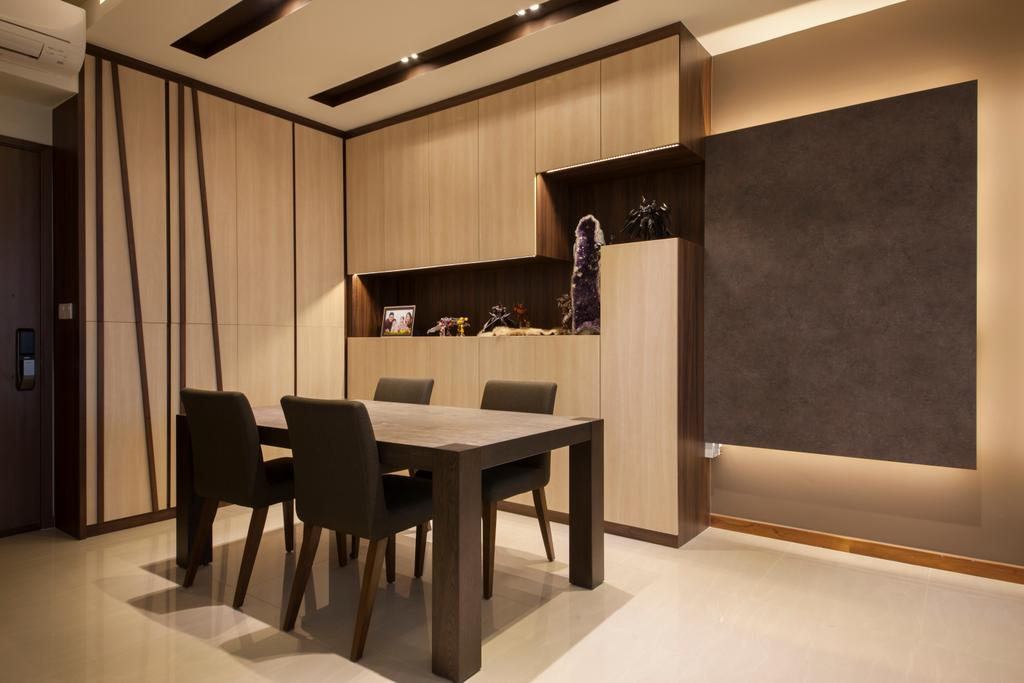 Contemporary, Condo, Dining Room, One Canberra, Interior Designer, Edge Interior, Dining Table, Dining Chairs, Black Chairs, Cabinet, Cabinetry, Downlight, Black And Wood, Wood Grain, Furniture, Table, Chair, Indoors, Interior Design, Room
