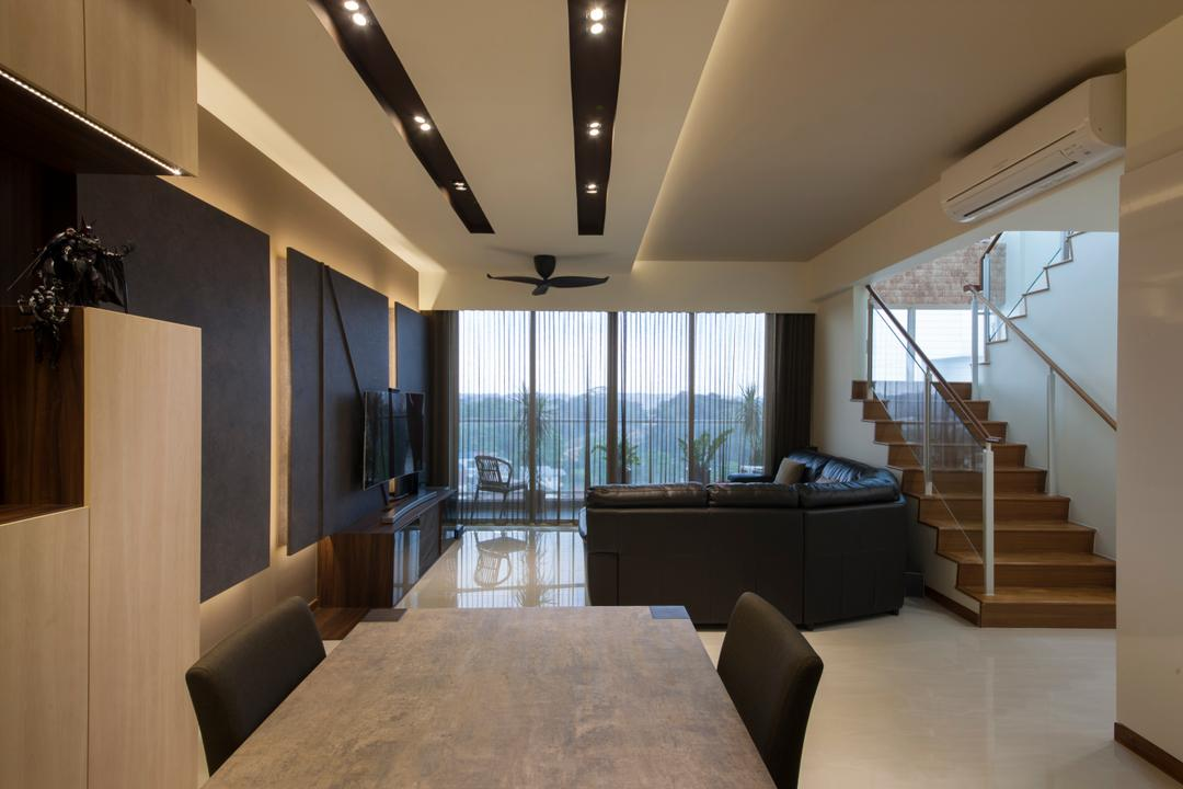 One Canberra, Edge Interior, Contemporary, Living Room, Condo, Feature Wall, Black And Wood, Cabinetry, Cabinet, Black Cabinet, Concealed Lighting, Indoors, Interior Design